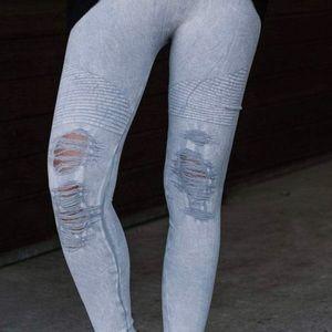 Grey Vintage Ripped Jeggings